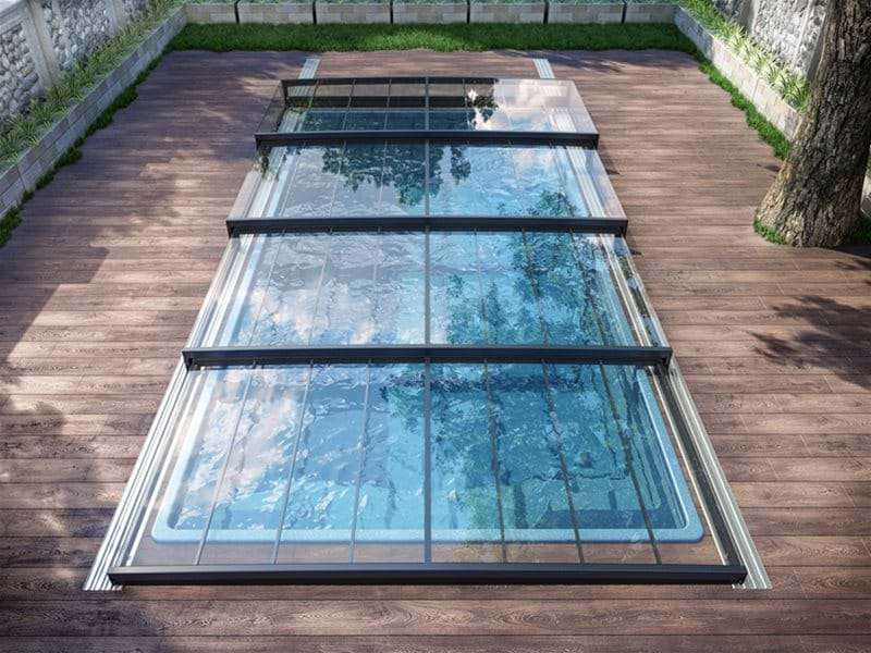 eagle view of Horizont pool enclosure covering a one piece swimming pool.