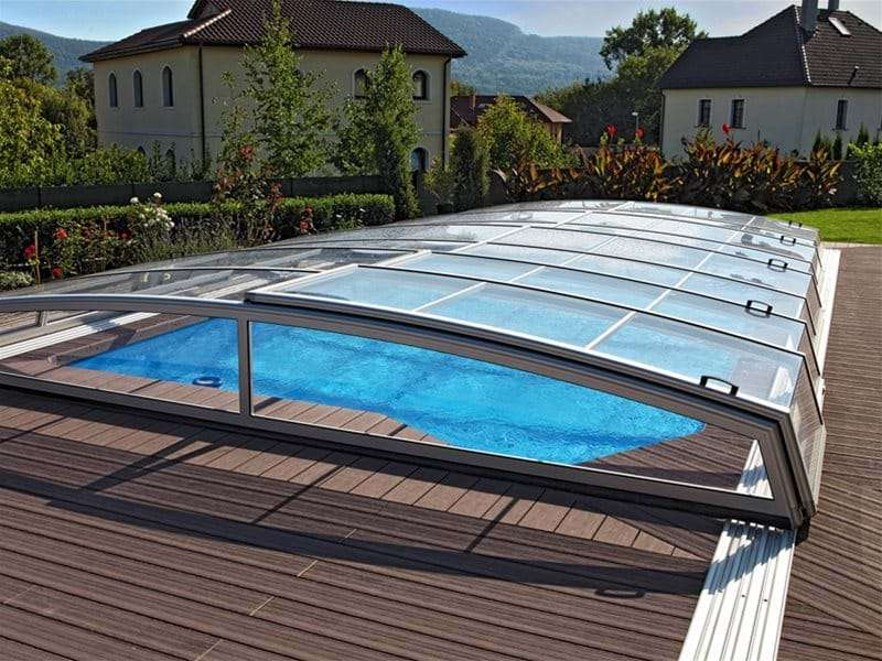 visual pool enclosure covering one piece swimming pool.
