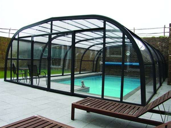 Aquacomet swimming pool enclosure installed in Brighton.