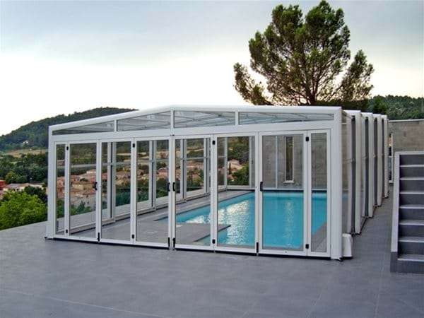 one piece swimming pool with orion pool enclosure.