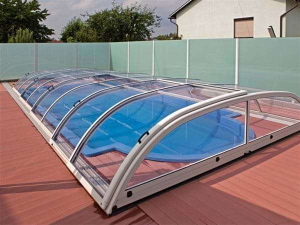 one piece swimming pool with star or star plus pool enclosure.